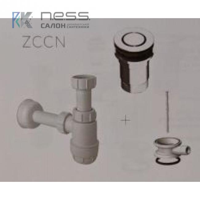 """Сифон ZCCN с металическим донным клапанном """"клик-клак"""" с переливом"""